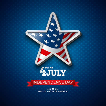 Independence Day of the USA Vector Illustration with Flag in 3d Star. Fourth of July Design on Light Background for Banner, Greeting Card, Invitation or Holiday Poster.