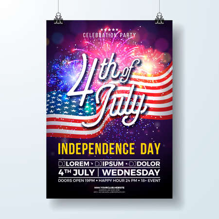 Independence Day of the USA Party Flyer Illustration with Flag and Fireworks. Vector Fourth of July Design on Dark Background for Celebration Banner, Greeting Card, Invitation or Holiday Poster. Illusztráció