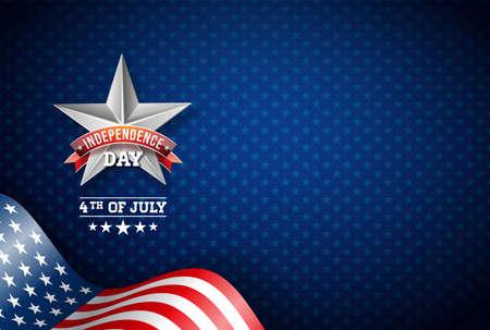 Día de la independencia de la ilustración vectorial de Estados Unidos. Diseño del cuatro de julio con bandera sobre fondo azul para banner, tarjeta de felicitación, invitación o cartel de vacaciones. Ilustración de vector