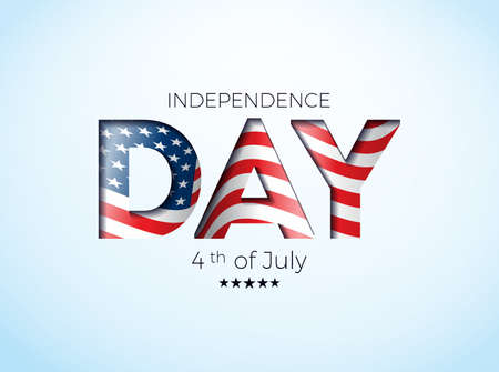 Independence Day of the USA Vector Illustration with Flag in Cutting Lettering. Fourth of July Design on Light Background for Banner, Greeting Card, Invitation or Holiday Poster. 일러스트
