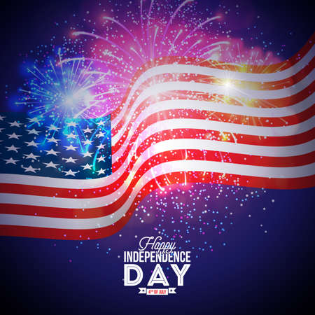 Happy Independence Day of the USA Vector Illustration. Fourth of July Design with Flag and Firework on Blue Background for Banner, Greeting Card, Invitation or Holiday Poster. Illustration