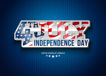 Independence Day of the USA Vector Illustration with Flag in 3d Typography Lettering. Fourth of July Design on Light Background for Banner, Greeting Card, Invitation or Holiday Poster. 일러스트