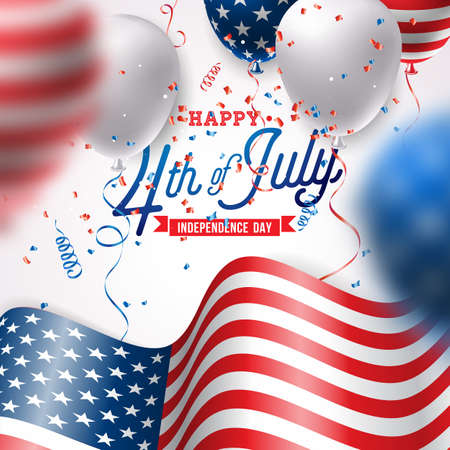 Independence Day of the USA Vector Illustration. Fourth of July Design with Air Balloon and Flag on White Background for Banner, Greeting Card, Invitation or Holiday Poster. Çizim