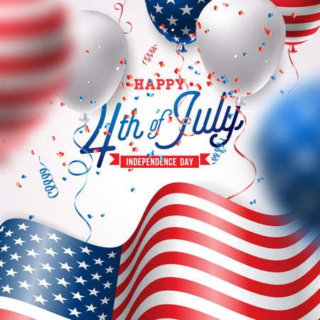 Unabhängigkeitstag der USA Vektor-Illustration. 4. Juli Design mit Luftballon und Flagge auf weißem Hintergrund für Banner, Grußkarte, Einladung oder Feiertagsplakat.