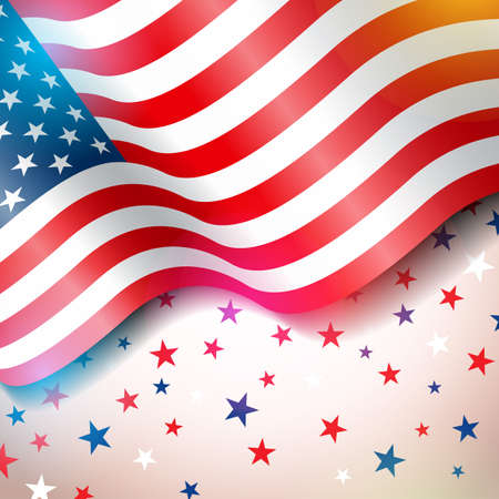 Independence Day of the USA Vector Illustration. Fourth of July Design with Flag and Stars on Light Background for Banner, Greeting Card, Invitation or Holiday Poster. Stock Photo