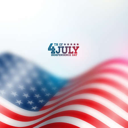 Independence Day of the USA Vector Background. Fourth of July Illustration with Blurred Flag and Typography Design for Banner, Greeting Card, Invitation or Holiday Poster. Standard-Bild - 102789409