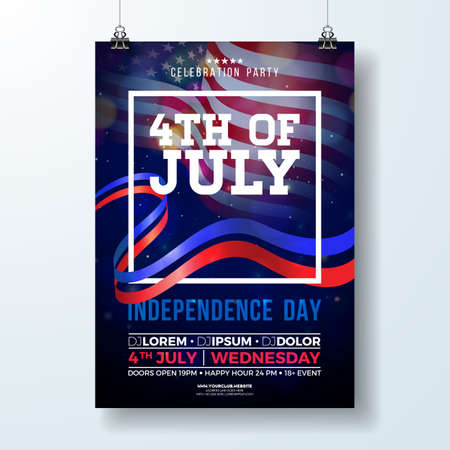 Independence Day of the USA Party Flyer Illustration with Flag and Ribbon. Vector Fourth of July Design on Dark Background for Celebration Banner, Greeting Card, Invitation or Holiday Poster.