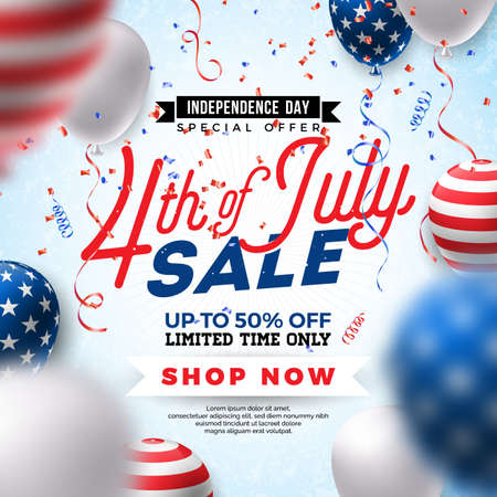 Fourth of July. Independence Day Sale Banner Design with Balloon on Confetti Background. USA National Holiday Vector Illustration with Special Offer Typography Elements for Coupon, Voucher, Banner, Flyer, Promotional Poster or greeting card.