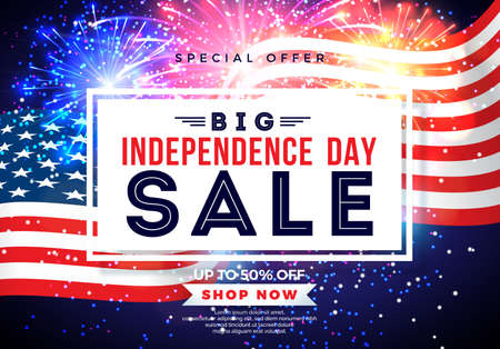 Fourth of July. Independence Day Sale Banner Design with Flag on Firework Background. USA National Holiday Vector Illustration with Special Offer Typography Elements for Coupon, Voucher, Banner, Flyer, Promotional Poster, Invitation or greeting card. Illustration