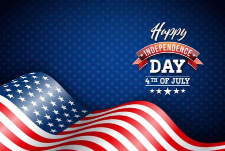 Felice giorno dell'indipendenza degli Stati Uniti illustrazione vettoriale. Design di quarto di luglio con bandiera su sfondo blu per banner, biglietto di auguri, invito o poster per le vacanze.