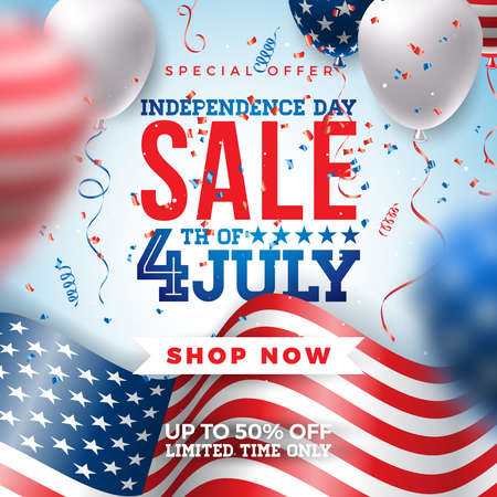 Fourth of July. Independence Day Sale Banner Design with Balloon and Flag on Confetti Background. USA National Holiday Vector Illustration with Special Offer Typography Elements for Coupon, Voucher, Banner, Flyer, Promotional Poster or greeting card.