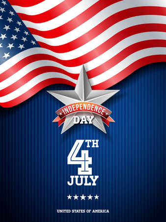 Independence Day of the USA Vector Illustration. Fourth of July Design with Flag on Blue Background for Banner, Greeting Card, Invitation or Holiday Poster.