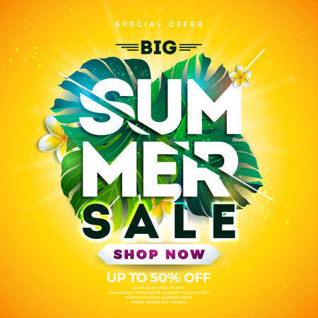 Summer Sale Design with Flower and Exotic Leaves on Blue Background. Tropical Floral Vector Illustration with Special Offer Typography Elements for Coupon, Voucher, Banner, Flyer, Promotional Poster, Web Site Invitation or greeting card. Vettoriali