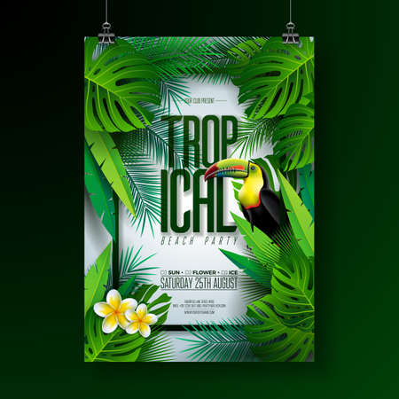 Vector Summer Tropical Beach Party Flyer Design with Toucan, Flower and typographic elements on exotic leaf background. Summer nature floral elements, tropical plants. Design template for banner, flyer, invitation, poster. Stock Illustratie