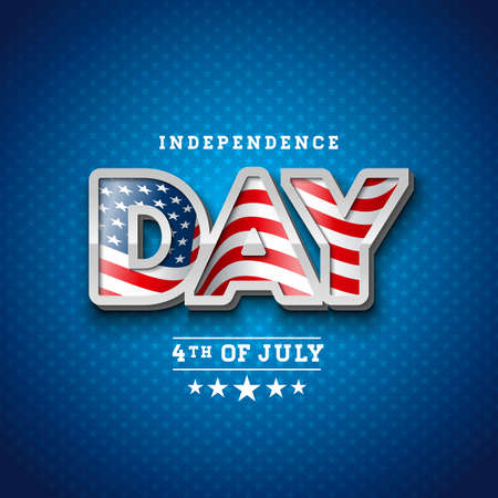 Independence Day of the USA Vector Illustration with Flag in 3d Lettering. Fourth of July Design on Light Background for Banner, Greeting Card, Invitation or Holiday Poster.