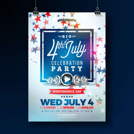 Independence Day of the USA Party Flyer Illustration with Falling Colorful Star. Vector Fourth of July Design on Blue Background for Celebration Banner, Greeting Card, Invitation or Holiday Poster.