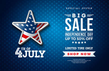 Fourth of July. Independence Day Sale Banner Design with Flag in 3d Star on Dark Background. USA National Holiday Vector Illustration with Special Offer Typography Elements for Coupon, Voucher, Banner, Flyer, Promotional Poster or greeting card.