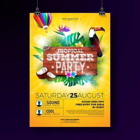 Vector Summer Beach Party Flyer Design with typographic elements on wood texture background. Tropical plants, flower, toucan bird, coconut and air balloon with blue cloudy sky. Holiday design template for banner, flyer, invitation or poster. Reklamní fotografie