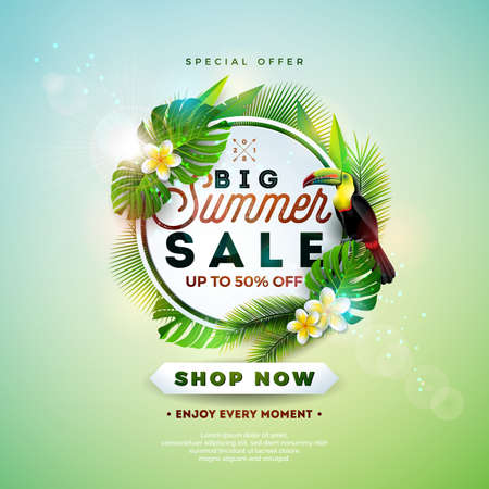 Summer Sale Design with Flower, Toucan and Exotic Leaves on Nature Green Background. Tropical Floral Vector Illustration with Special Offer Typography Elements for Coupon, Voucher, Banner, Flyer, Promotional Poster, Invitation or greeting card.