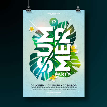 Vector Summer Beach Party Flyer Design with flower and tropical plants on blue background. Summer nature floral elements and typographic letter. Design template for banner, flyer, invitation, poster. Ilustração