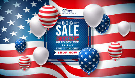 Fourth of July. Independence Day Sale Banner Design with Balloon on Flag Background. USA National Holiday Vector Illustration with Special Offer Typography Elements for Coupon, Voucher, Banner, Flyer, Promotional Poster or greeting card. Illustration