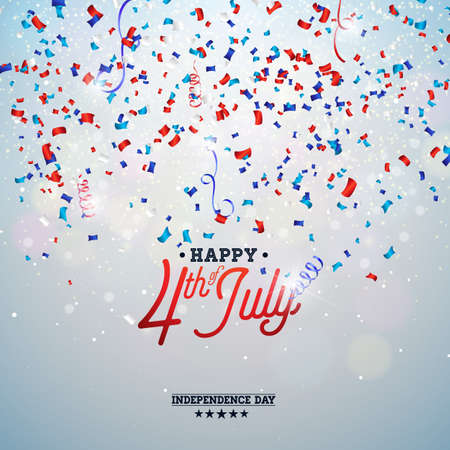 Independence Day of the USA Vector Illustration. Fourth of July Design with Falling Color Confetti and Typography elements on Light Background for Banner, Greeting Card, Invitation or Holiday Poster.