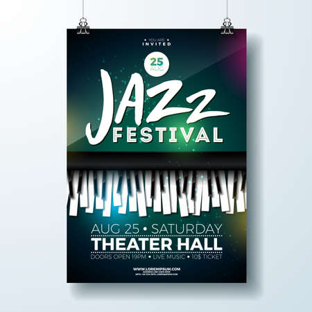 Jazz Music Festival Flyer Design with Piano Keyboard on Dark Background. Vector Party Illustration Template for Invitation Poster, Promotional Banner, Brochure, or Greeting Card.