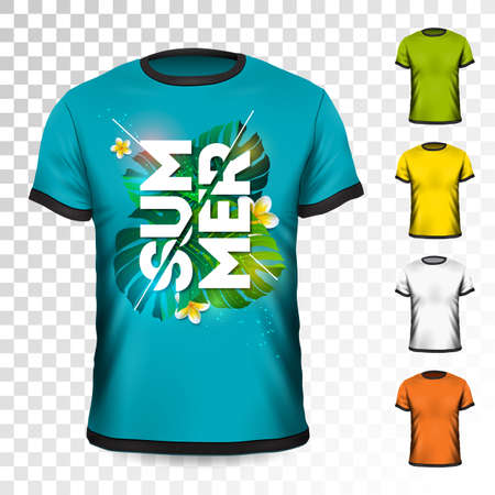 Summer Holiday T-Shirt design with tropical leaves and flower on transparent background. Vector Design template for clothing with some color variation Ilustrace