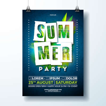Vector Summer Party Flyer Design with tropical leaves and flower on blue background. Summer nature floral elements. Design template for banner, invitation, event poster