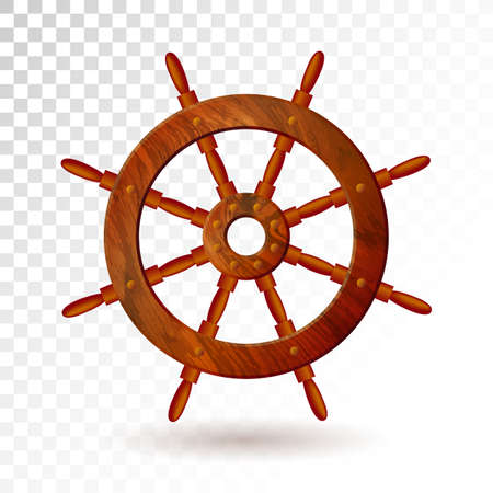 Ship steering wheel isolated on transparent background. Detailed vector illustration for your design