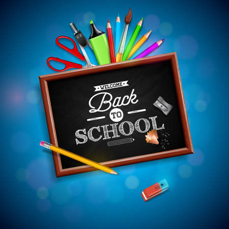 Back to school design with colorful pencil, eraser and other school items on blue background. Vector illustration with chalkboard and typography lettering for greeting card, banner, flyer, invitation, brochure or promotional poster