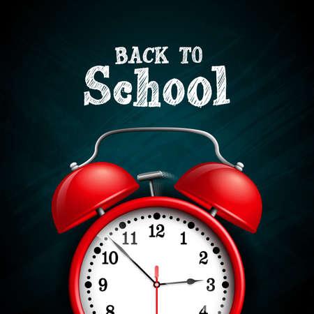 Back to school design with red alarm clock on dark chalkboard background. Vector illustration for greeting card, banner, flyer, invitation, brochure or promotional poster Stock Illustratie