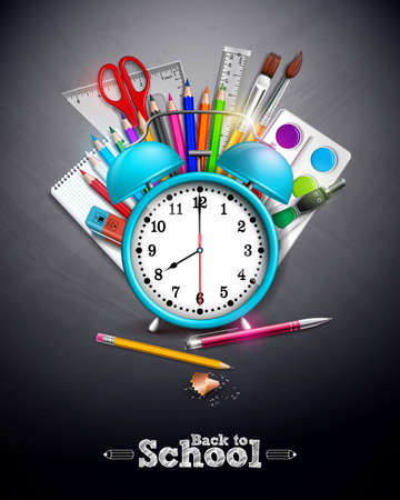 Back to school design with graphite pencil, pen and other school items on yellow background. Vector illustration with alarm clock, chalkboard and typography lettering for greeting card, banner, flyer, invitation, brochure or promotional poster