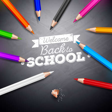 Back to school design with colorful pencil and chalk lettering on black chalkboard background. Vector illustration for greeting card, banner, flyer, invitation, brochure or promotional poster Illusztráció