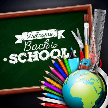 Back to school design with colorful pencil, eraser and other school items on black background. Vector illustration with globe, chalkboard and chalk lettering for greeting card, banner, flyer, invitation, brochure or promotional poster.
