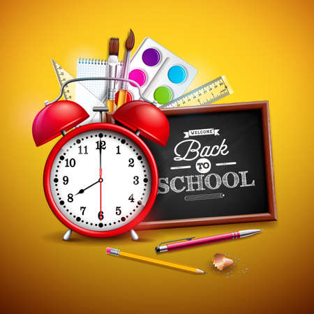 Back to school design with graphite pencil, pen and other school items on yellow background. Vector illustration with red alarm clock, chalkboard and typography lettering for greeting card, banner, flyer, invitation, brochure or promotional poster.