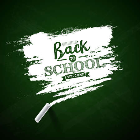 Back to school design with green chalkboard and typography lettering on yellow background. Vector illustration for greeting card, banner, flyer, invitation, brochure or promotional poster Stock Illustratie