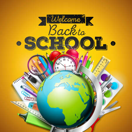 Back to school design with colorful pencil, eraser and other school items on yellow background. Vector illustration with globe, alarm clock, magnifying glass, chalkboard and typography lettering for greeting card, banner, flyer or promotional poster