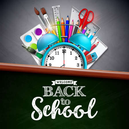 Back to school design with colorful pencil, brush and other school items on yellow background. Vector illustration with alarm clock, chalkboard and typography lettering for greeting card, banner, flyer, invitation, brochure or promotional poster Stock Illustratie