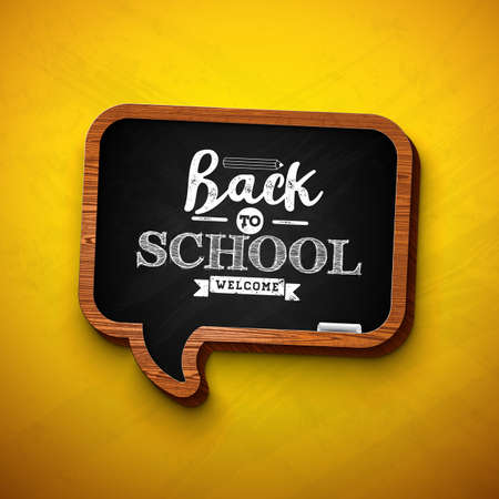 Back to school design with chalkboard and typography lettering on yellow background. Vector illustration for greeting card, banner, flyer, invitation, brochure or promotional poster