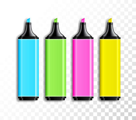 Design set of realistic colored highlighter pens on transparent background. School or office items, colorful pen vector illustration