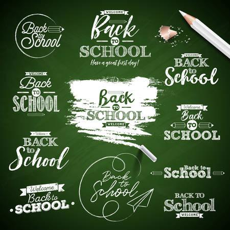 Back to school design with typography lettering set on green chalkboard background. Vector illustration for greeting card, banner, flyer, invitation, brochure or promotional poster Stock Illustratie