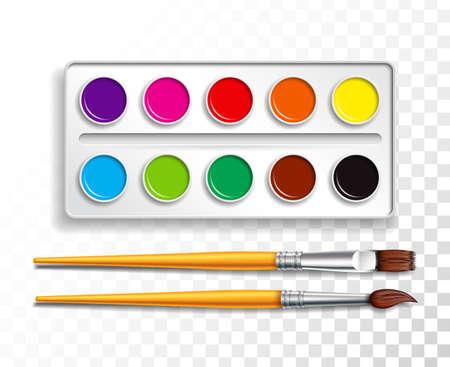 Conjunto de diseño de pinturas de acuarelas brillantes en caja con pincel sobre fondo transparente. Ilustración de vector colorido con artículos escolares para niños
