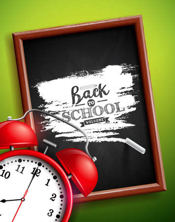 Back to school design with alarm clock, chalkboard and typography lettering on green background. Vector illustration for greeting card, banner, flyer, invitation, brochure or promotional poster Stock Illustratie