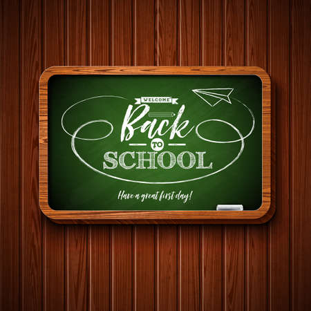 Back to school design with chalkboard and typography lettering on wood texture background. Vector illustration for greeting card, banner, flyer, invitation, brochure or promotional poster