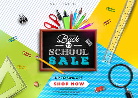 Back to school sale design with colorful pencil, brush and other school items on yellow background. Vector Illustration with Special Offer Typography Elements for Coupon, Voucher, Banner, Flyer, Promotional Poster, Invitation or greeting card