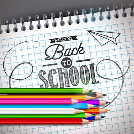 Back to school design with colorful pencil and notebook on grey background. Vector illustration with hand lettering typography for greeting card, banner, flyer, invitation, brochure or promotional poster