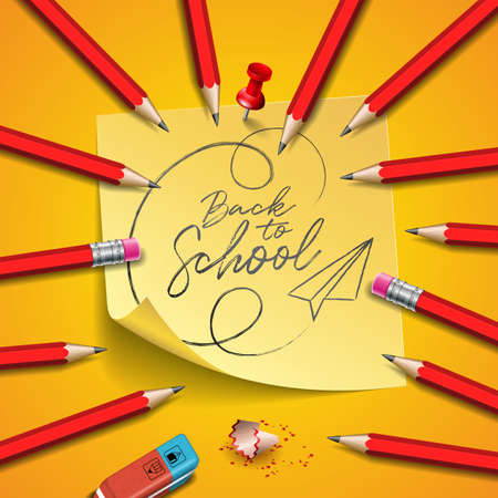 Back to school design with graphite pencil, eraser and sticky notes on yellow background. Vector illustration with post it,red pin and hand lettering for greeting card, banner, flyer, invitation, brochure or promotional poster