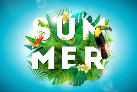 Summer illustration with toucan bird and parrots beak flower on tropical background. Exotic leaves with holiday typography element. Vector design template for banner, flyer, invitation, brochure, poster or greeting card
