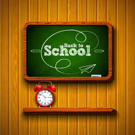 Back to school design with alarm clock, chalkboard and typography lettering on wood texture background. Vector illustration for greeting card, banner, flyer, invitation, brochure or promotional poster.